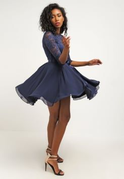 Swing Cocktailkjole Dark Blue Style High Low Dress Fashion