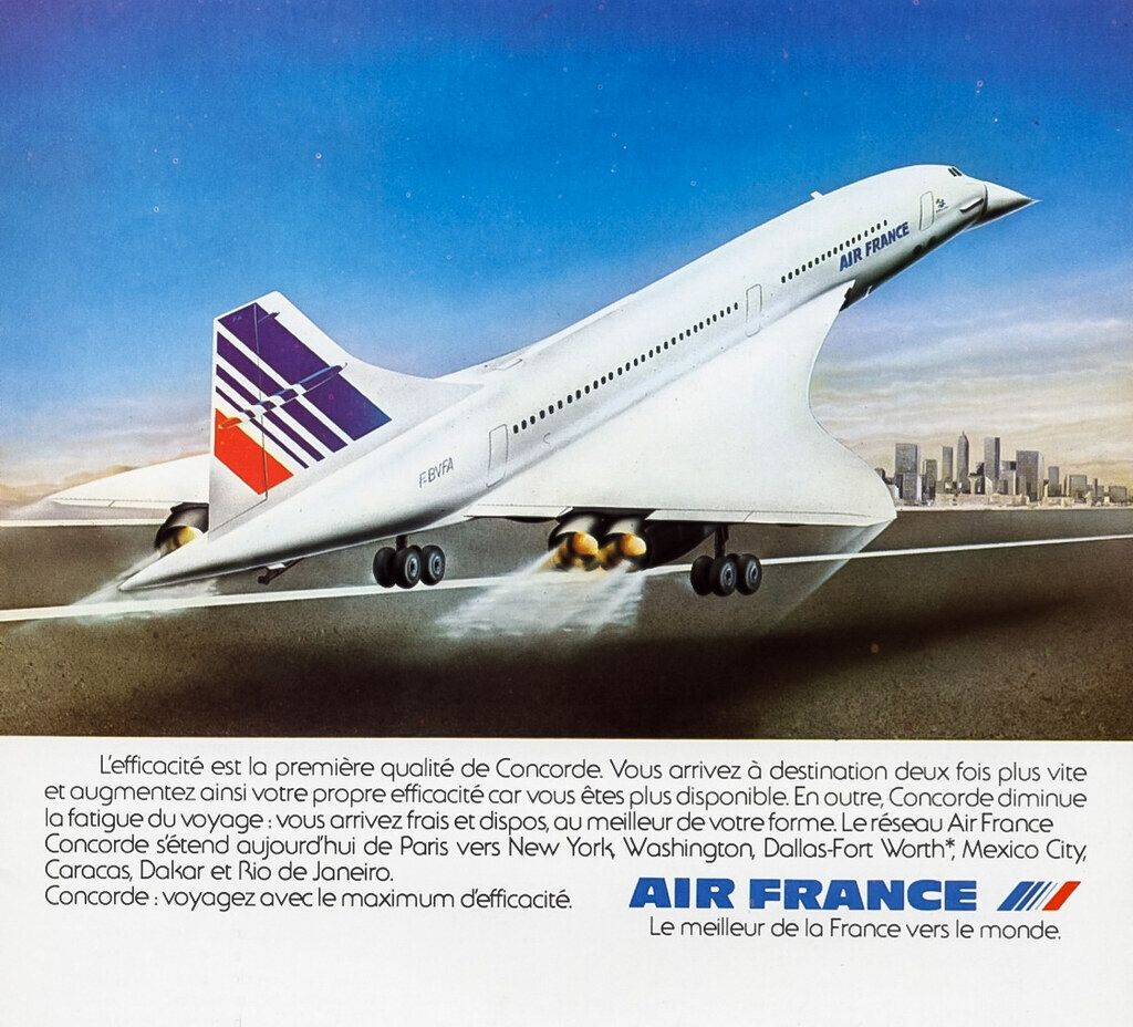 French Magazine Ad for the Air France Concorde (1979) Fast