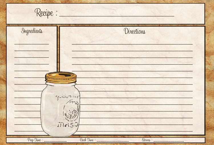 Mason Jar Recipe Card 4x6 Recipe Card Pdf Download Your Recipe Card Recipe Cards Template Printable Recipe Cards Recipe Cards Printable Free