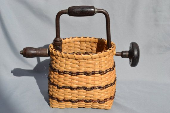 Vintage Hand Drill Basket by WhiteRoosterShoppe on Etsy