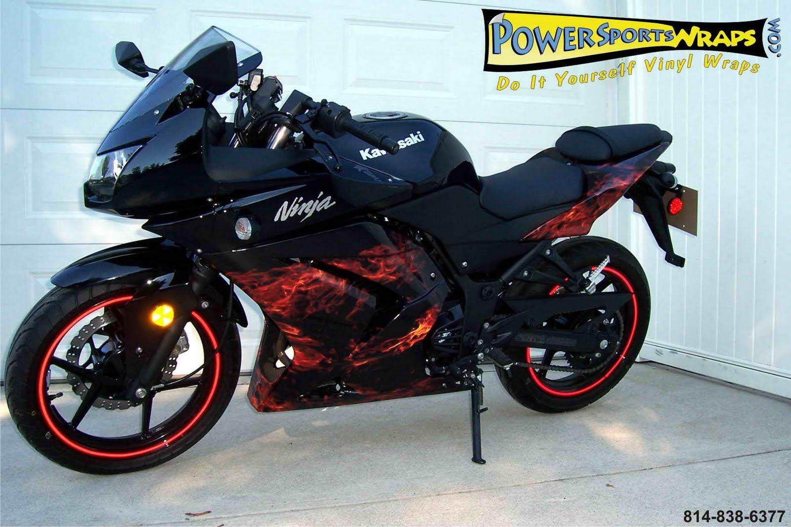 Big bike sticker design - Custom Ninga Kawasaki Ninja 250 Custom With Flame Stickers
