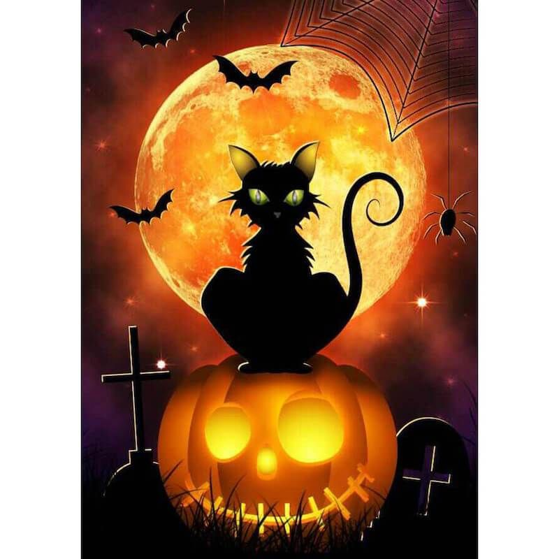 Diamond Painting - Halloween Pumpkin Cat