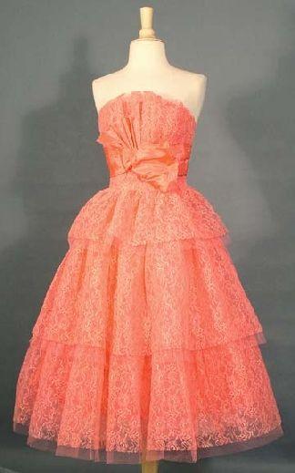 Vintage Tulle Prom Dresses Peach
