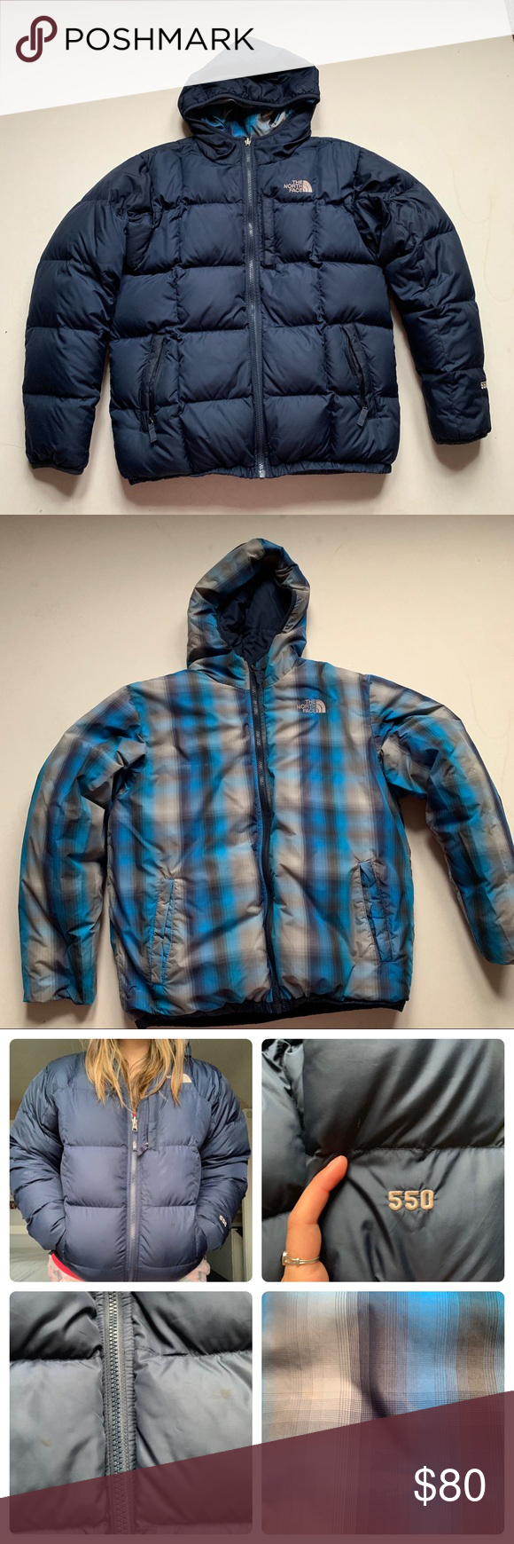 The North Face Navy 550 Puffer Reversible Jacket Reversible Jackets Clothes Design North Face Jacket [ 1740 x 580 Pixel ]