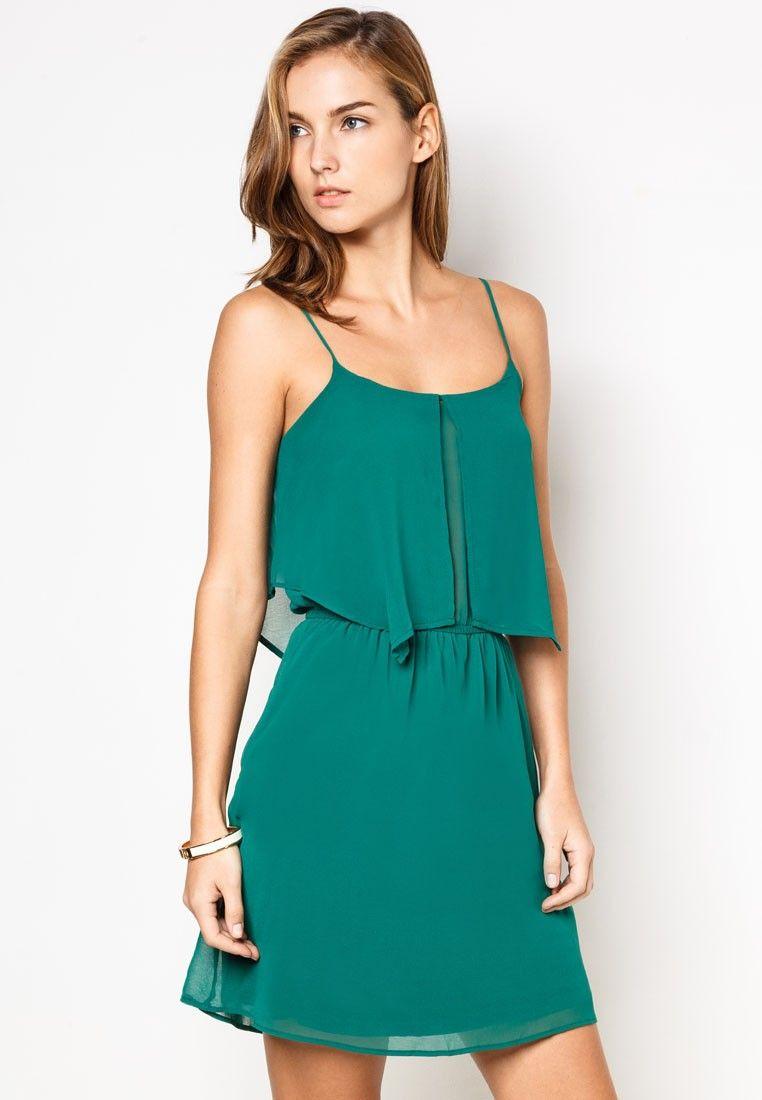 MANGO Ruffled Chiffon Dress 綠色雪紡連身裙