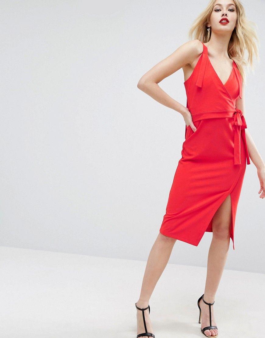 b68f7a07fef ASOS Sexy Valentine Wrap Midi Dress - Red