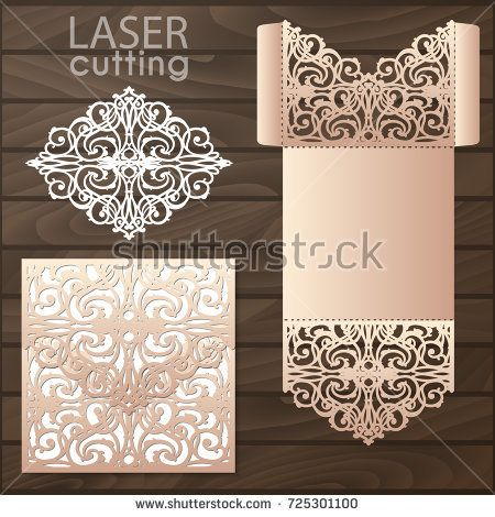 15008c1832bc Die laser cut wedding card vector template. Invitation envelope. Wedding  lace invitation mockup. Template for laser cutting.