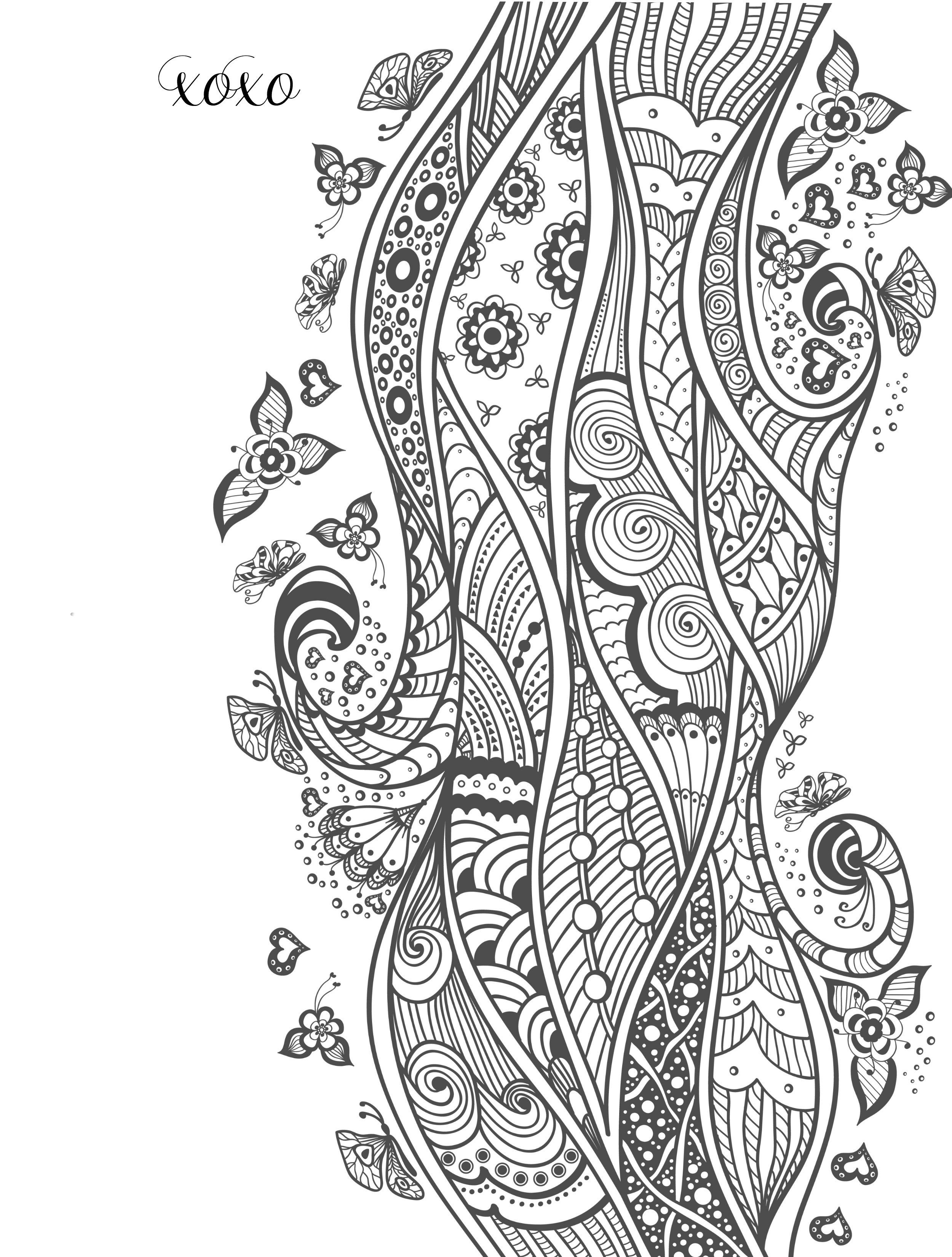 Printable Valentines Adult Coloring Pages Abstract Doodle Zentangle ...