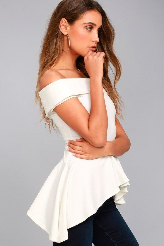 7dc2f271610 Spend the day your way in the Shopping Spree White Off-the-Shoulder Top!  Stretch knit shapes an elasticized