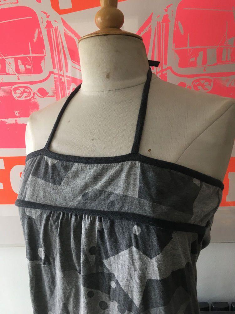 NWOT GORGEOUS GREY COTTON HALTER NECK/STRAP TIE AT BACK GEOMETRIC SUMMER DRESS-8 #Maharishi #SummerDress