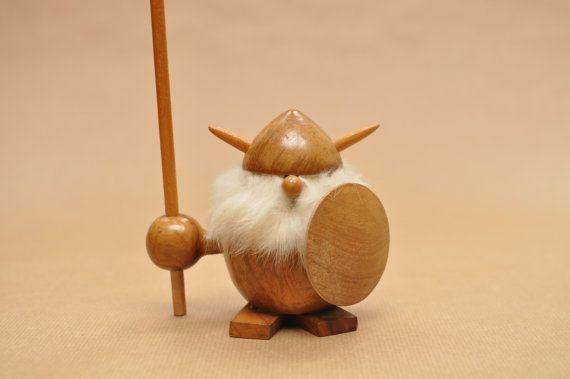 Wooden viking figurine with spear - Teak and Fur - Scandinavian mid century modern warrior figure - Danish wood