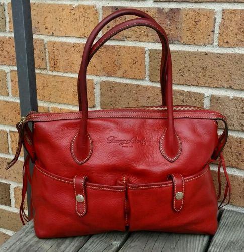 Dooney-Bourke-Red-Florentine-Venchetta-Leather-Bag-Handbag-Hobo-Shoulder-Bag