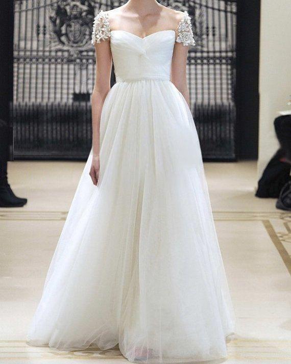Reem Acra Inspired Tulle Pearl Beading Cap Sleeves Wedding Dress ...