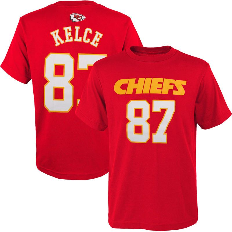 87 Travis Kelce Kansas City Chiefs Youth Mainliner Name   Number T-Shirt -  Red 323b78df5