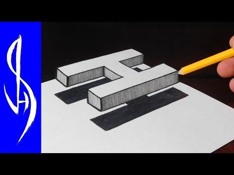 how to draw 3d floating letter h trick art on paper youtube 3d drawings art tips 3d art drawing how to draw 3d floating letter h