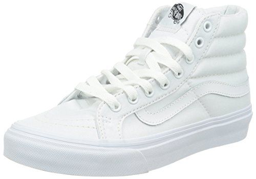 56d17000f54c9a Vans Unisex Sk8Hi Slim Canvas True White Skate Shoe 7 Men US 85 Women US     Continue to the product at the image link. This is an Amazon Affiliate  links.
