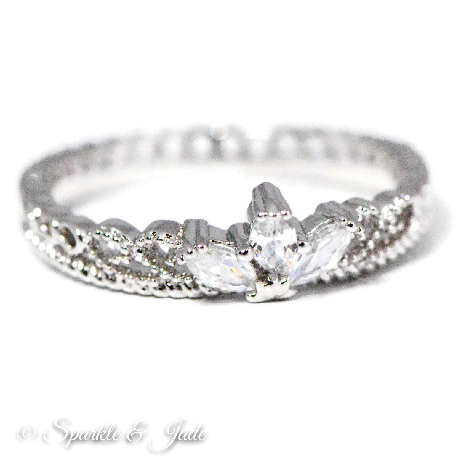 White Gold Plated CZ Dainty Princess Crown Ring (Silver