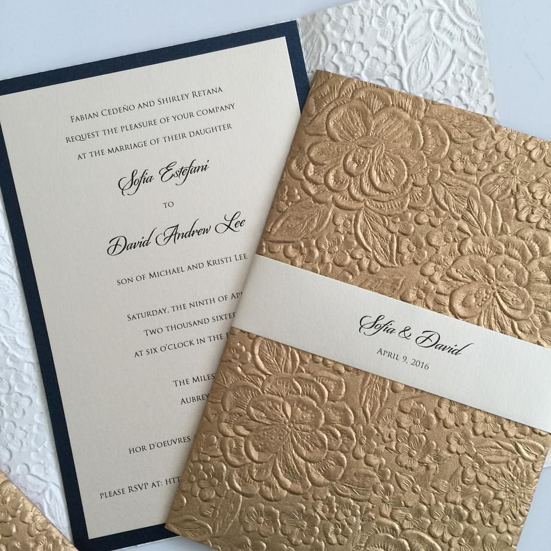 Floral embossed gold and midnight blue wedding invitations. | Winter ...