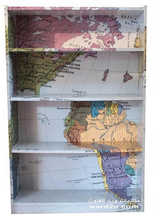 I think i will do this to my bookshelf diy how to and diy map bookcase this would be perfect for all of my travel books gumiabroncs Gallery