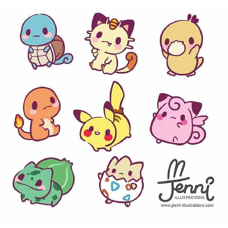 J E N N I  on Instagram: Chibi Pokemon  () #pokemon #pikachu #charmander #bulbasaur #squirtle #togepi #meowth #psyduck #chibi #drawings #kawaiiartist