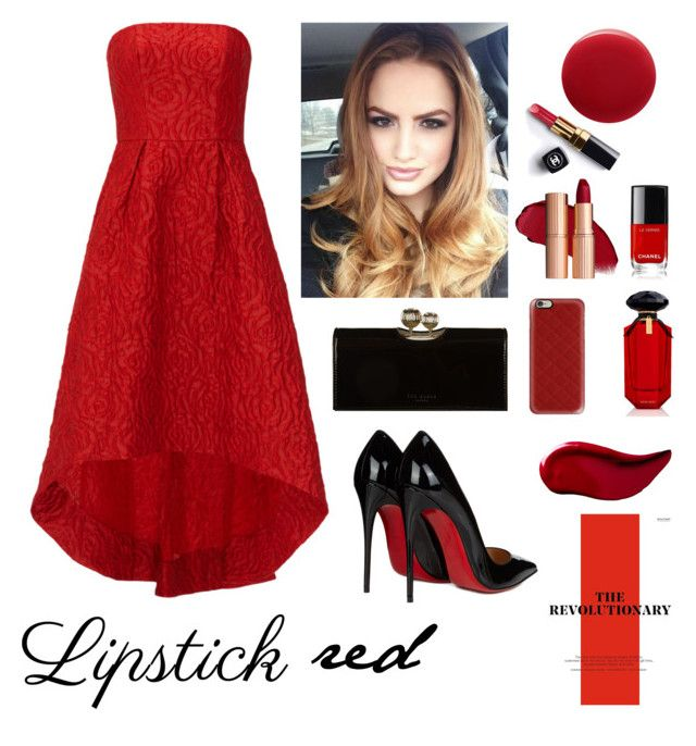 """Red"" by aurasofia27 ❤ liked on Polyvore featuring beauty, ML Monique Lhuillier, Christian Louboutin, Oribe, Casetify, Ted Baker, Chanel, Victoria's Secret and Kat Von D"