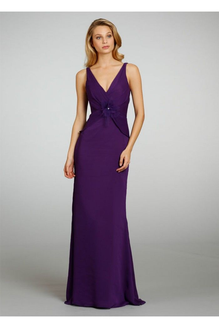 Fitted V Neck Long Dark Purple Chiffon Occasion Bridesmaid Dress ...