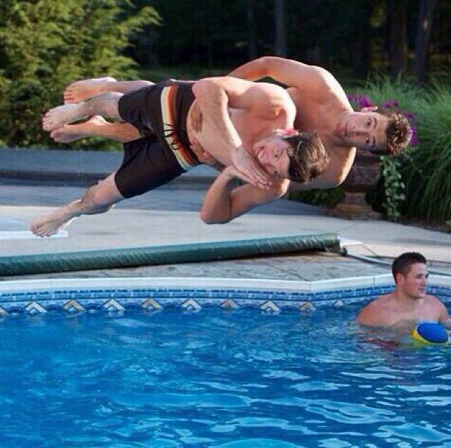 Tyler And Josh Diving In The Pool