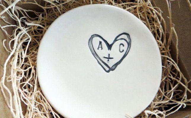 Personalized Wedding Ring Dish via Brit + Co.
