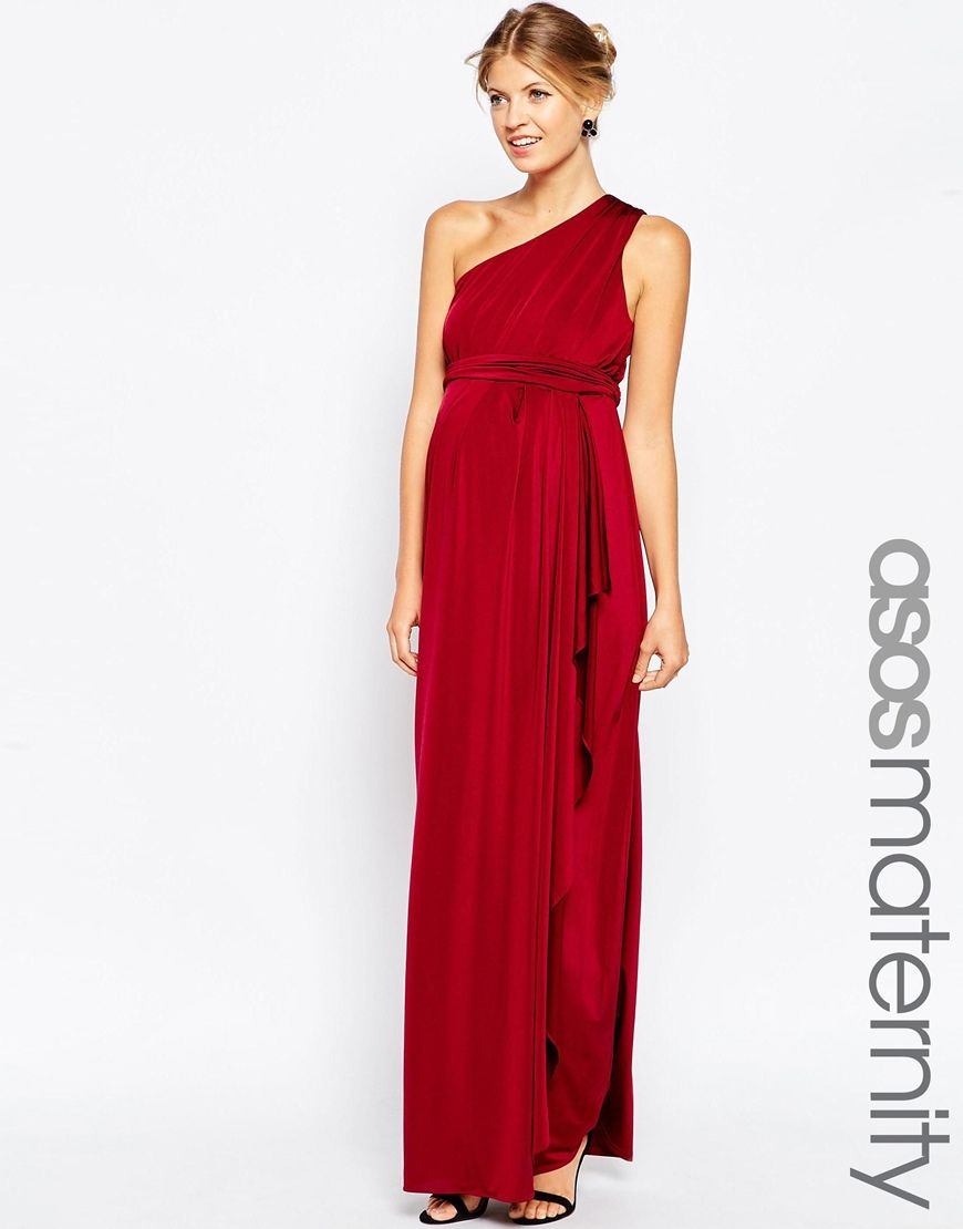 86 ASOS Maternity WEDDING Slinky Maxi Dress With One Shoulder