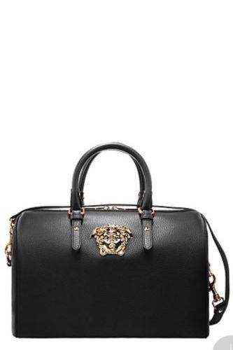 054b2fd8602f Versace  luxury black leather designer  ladies  handbag palazzo medusa  bowling ba