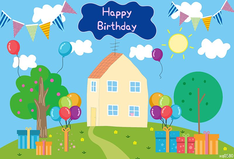 Cartoon Peppa Pig House Kids Birthday Backdrop in 2020 ...