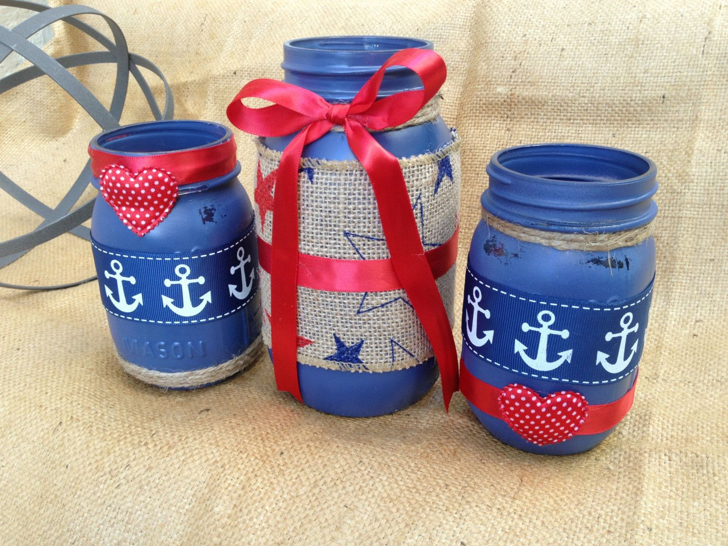 Painted mason jars th of july decor mason jar centerpiece july