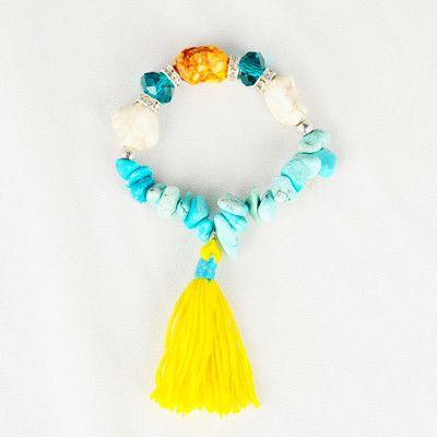 Semi precious gemstone tassel bracelet blue / yellow