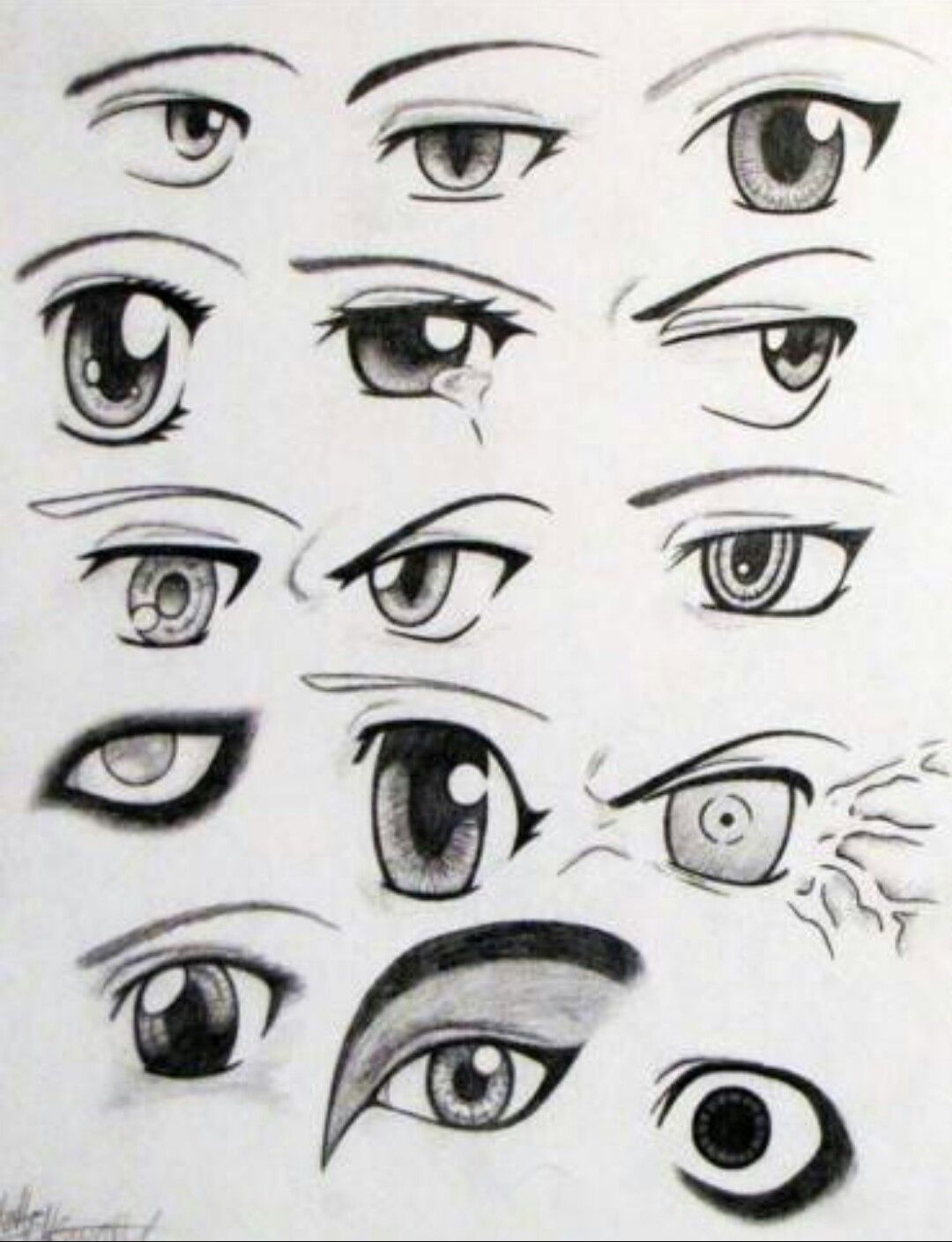 Different Eyes Anime Manga Eyes Emotions Art Blackandwhite Pencil Paper Anime Eyes Easy Anime Eyes Eye Drawing