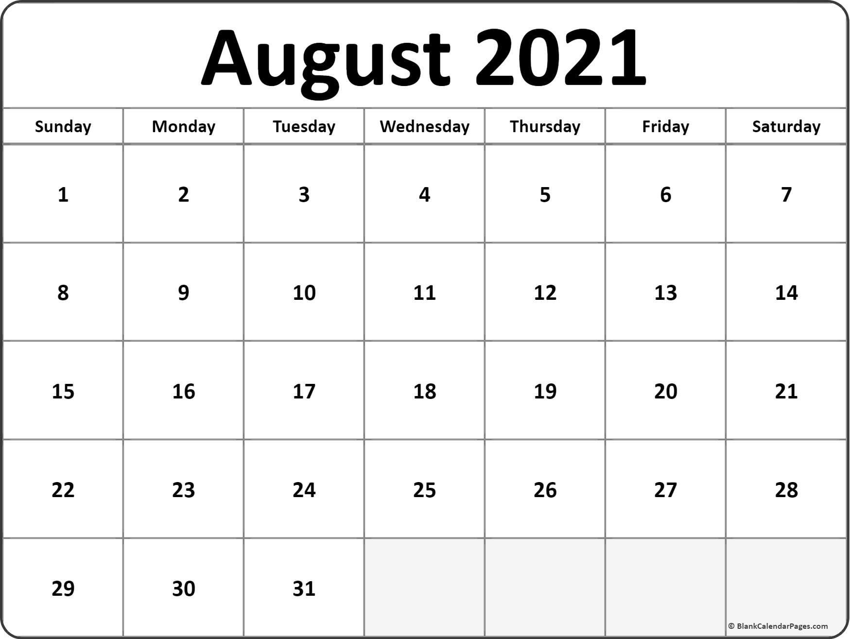 Calendar Monthly 2021 Printable August Full Page – Delightful to