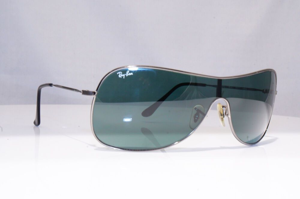 2ca1af53d205f eBay  Sponsored RAY-BAN Mens Designer Sunglasses Silver Shield RB 3211  004 71 18773