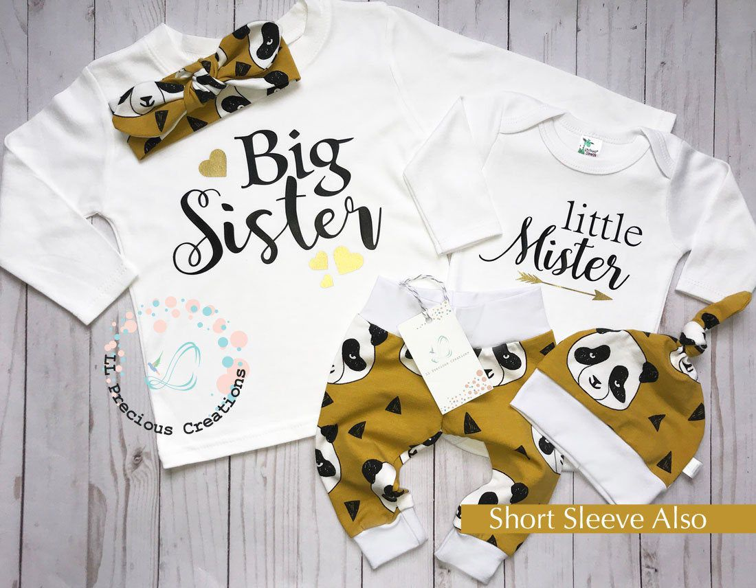 Choose Your Color Big Brother Little Sister Newborn Coming Home Outfit Baby Girl Clothes Sibling Outfits Baby Shower Gift Big Sister
