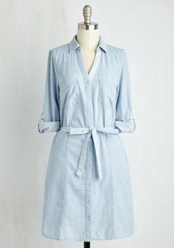 Premiere Post Dress. Upon buttoning into this staple-worthy chambray A-line, you excitedly share your look on your fashion blog, which quickly becomes your most appreciated post! #blue #modcloth