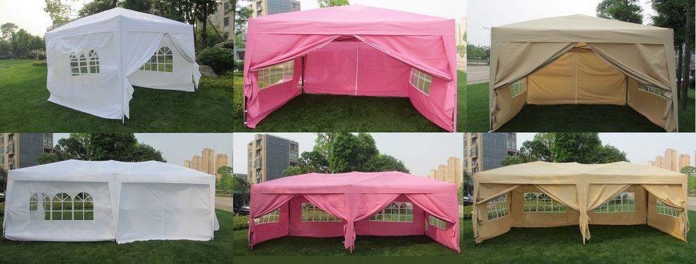 EZ Pop UP Wedding Party Tent Folding Gazebo C&ing Canopy W/ SIDES u0026 Carry Bag & MCombo 10x10 10x20 EZ Pop UP Wedding Party Tent Folding Gazebo ...