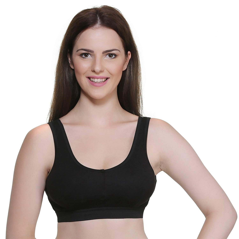 Atulya Black Color Hosiery Sports Bra for Women