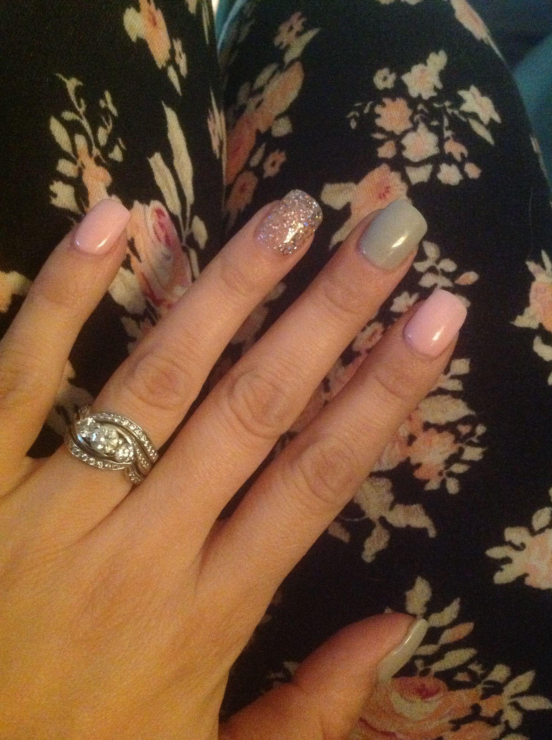 Pink Grey And Glitter Pink Toe Nails Pink Glitter Nails Pink Nails