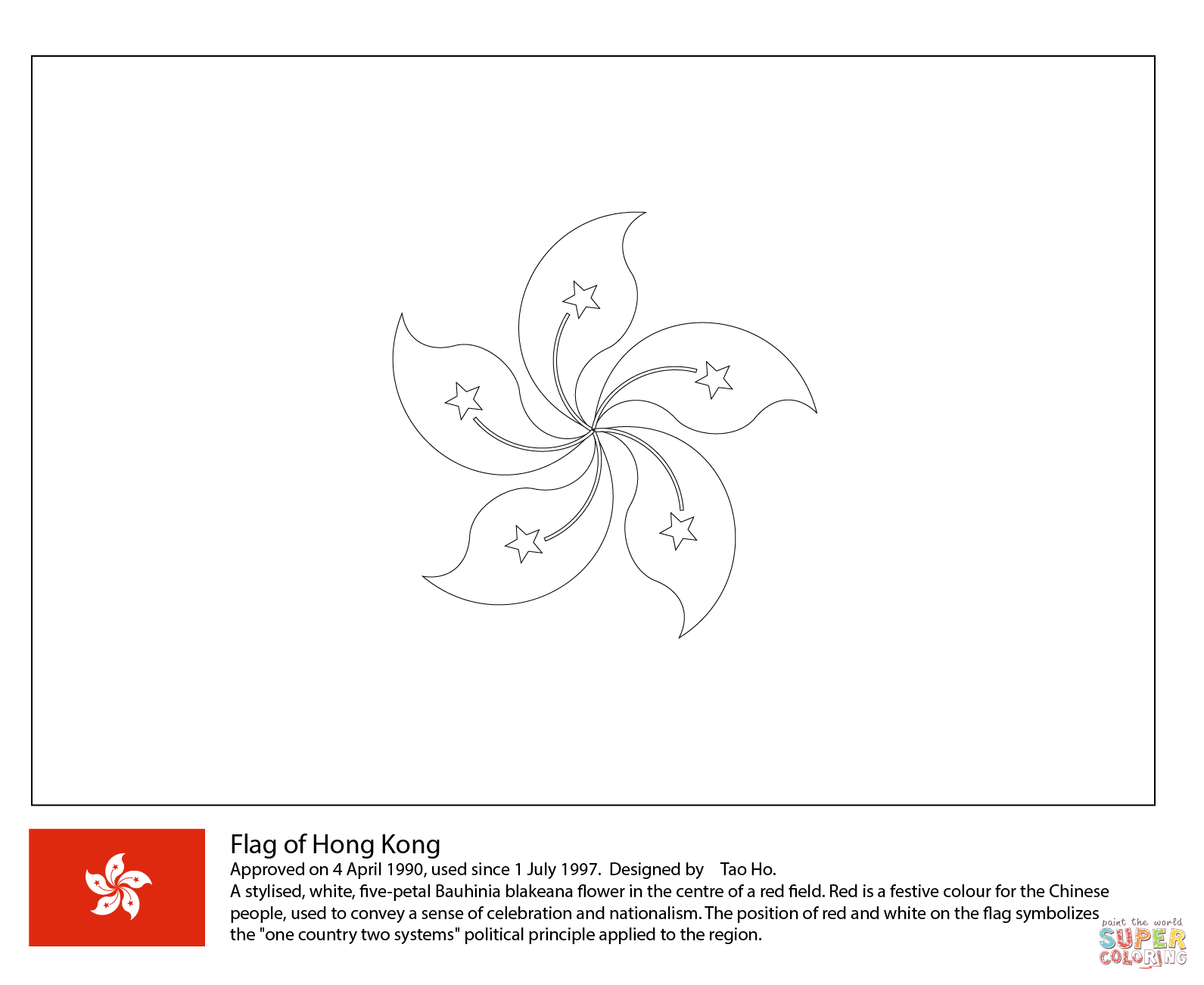Flag Of Hong Kong Coloring Page From Asian Flags Category Select From 28336 Printable Crafts Of Cartoons Flag Coloring Pages Hong Kong Flag Hong Kong Tattoo