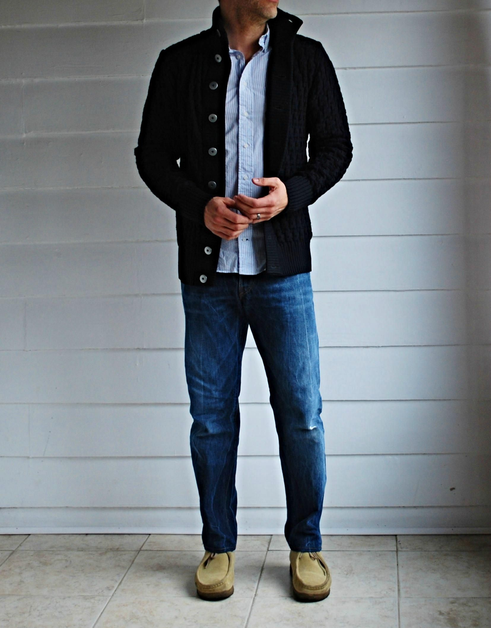 Vintage Denim Classic Lucky Casual Classy Mens Navy Hoodie