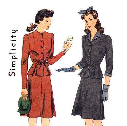 1940s Vintage Suit Pattern Simplicity 4430 Peplum Tied Jacket & Flared Skirt Bust 30, $19.00