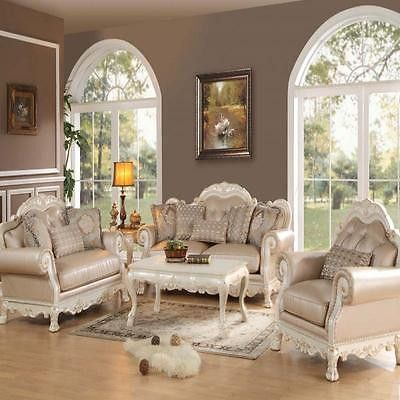 Acme 3 Piece Dresden Antique White Wood Trim Living Antique Living Rooms Leather Living Room Set Farmhouse Living Room Furniture