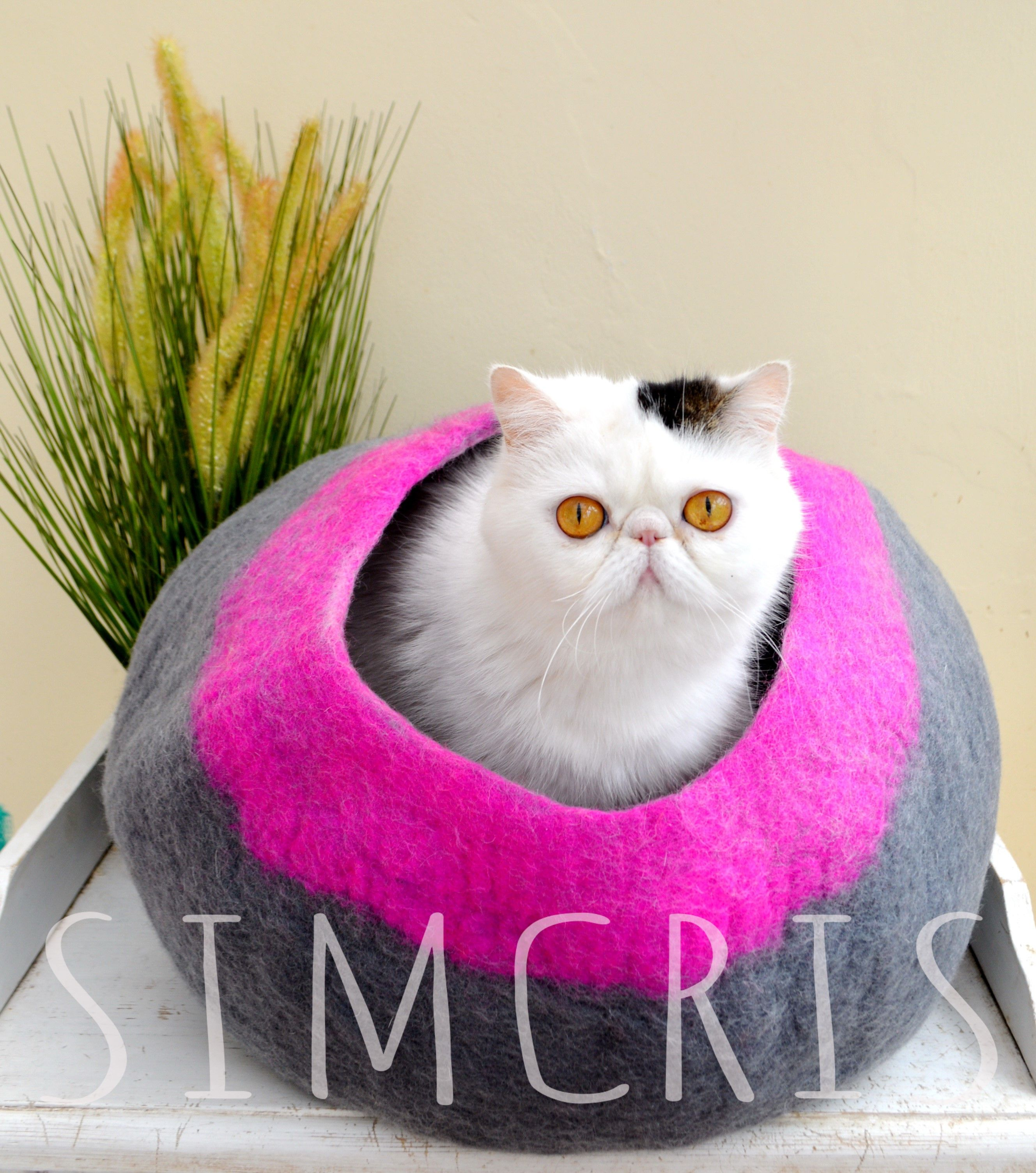 Pink edge felt cat cave Felt cat, Cat cave, Pet beds