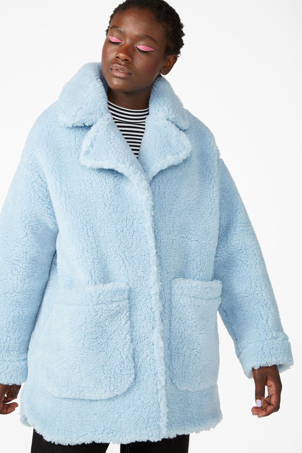 8694c089b93b Oversized faux shearling coat - Pale sky blue - Coats   Jackets ...