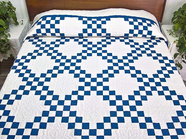 Double Irish Chain Quilt    Splendid Smartly Made Amish Quilts From  Lancaster (hs5000)
