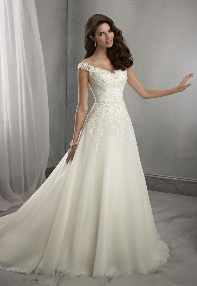 Newest Stock White/ivory Wedding dress Bridal Gown custom size 6-8 ...