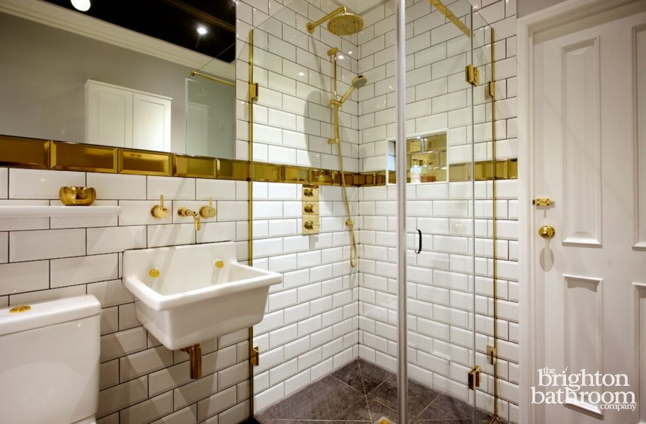 Funky Gold And White Bathroom In Hanover Crescent Brighton From The Company With Freestanding Bath Shower Plus Lots Of Bespoke